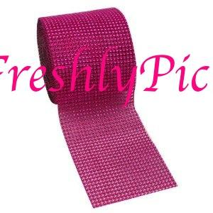 "FUCHSIA Diamond Mesh "" Crystal Wrap "" Rhinestone Net 4.5"" 1 yard"