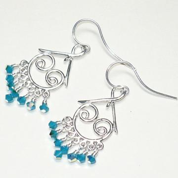 Sterling Silver Chandelier & Swarovski Caribbean Blue Opal Earrings