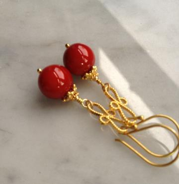 My Red Earrings 24k Gold Vermeil and Mother of Pearl