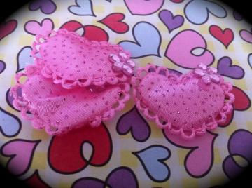Heart Fabric Embellishments with Pink Flower 3 for $1