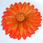 Funky Kitschy Floral Handmade Orange Vintage Recycle Hair Clip Flower Accessory