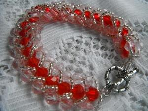 Red crystal weave bracelet