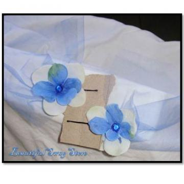 Blue Flower Bobby Pin Set
