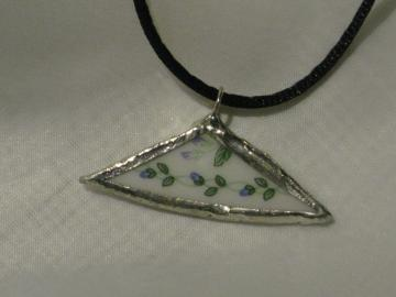 Broken China Pendant - Petite Blue Buds