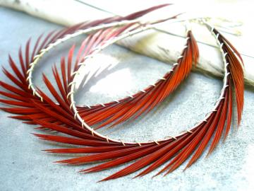 Fashion Earrings, Red feather earrings