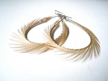 Cream Feather Earrings, Spiked Feather Hoops