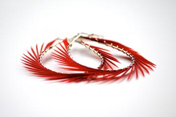 Red Feather Earrings, Spiked Hoops