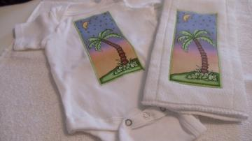 Burp Cloth  and  Onesies Bodysuit Set Moon Stars and Palm Tree