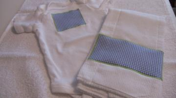 Burp Cloth  Onesies Set Blue Check