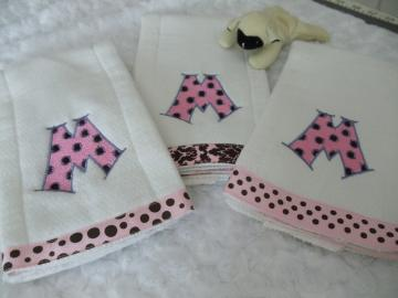 Baby Burp Cloth Dotty  Font Trio