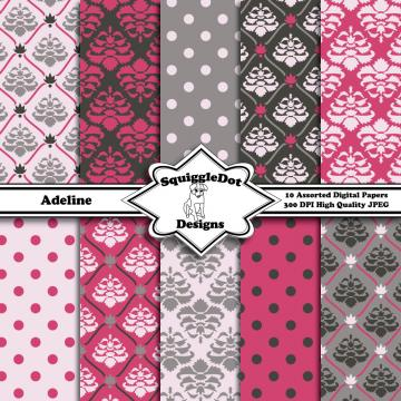 Digital Printable Paper for Cards, Crafts, Art and Scrapbooking Set of 10 - Adeline