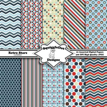 Digital Paper Specially Designed for Cards, Small Crafts, Art and Mini Scrapbook Albums Set of 10 - Retro Stars Cardsies