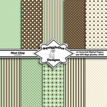 Digital Paper Specially Designed for Cards, Small Crafts, Art and Mini Scrapbook Albums Set of 10 - Mint Chip Cardsies