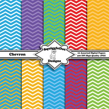 Digital Printable Paper for Cards, Crafts, Art and Scrapbooking Set of 10 - Chevron
