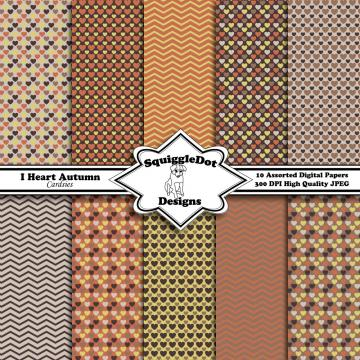 Digital Scrapbook Paper Designed for Cards, Small Crafts, Art and Mini Albums Set of 10 - I Heart Autumn Cardsies