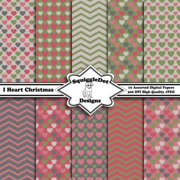 Digital Printable Paper for Cards, Crafts, Art and Scrapbooking Set of 10 - I Heart Christmas