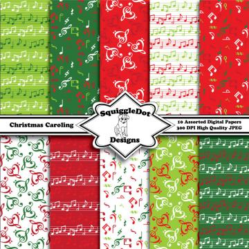 Printable Christmas Digital Scrapbook Paper for Cards, Crafts, Art and Scrapbooking Set of 10 - Christmas Caroling
