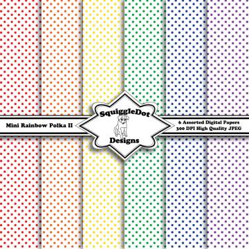 Digital Printable Paper for Cards, Crafts, Art and Scrapbooking Set of 6 - Mini Rainbow Polka II