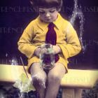 Nature Magic DIGITAL scan Child with Jar Bug Collecting Yellow shirt Red Tie ANTIQUE Birthday POSTCARD real photo