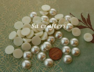 Ivory half Resin beads pearl 14mm 50 pieces