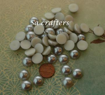 Baby Silver half Resin beads pearl 14mm 50 pieces
