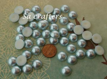 Blue half Resin beads pearl 14mm 50 pieces