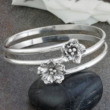 Sterling Silver Double Bangle Bracelet with Flower Accents