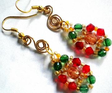 Red and green glass beaded dangle earrings
