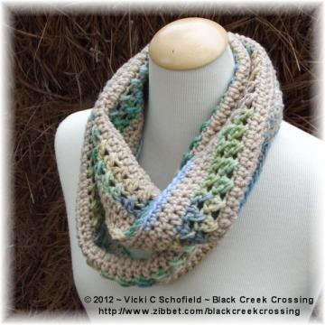 Crocheted Infinity Scarf Tan Green Blue