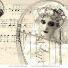 Digital Scan GOTHIC GHOST BRIDE Antique French  postcard  Lady Death Musical Halloween idea