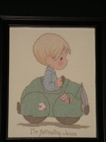 Precious Moments, collectable, boy, child, nursery, car, counted cross stitched, hand stitched