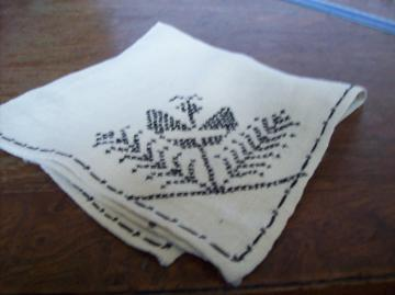 Vintage Linen cross stich Napkin or hanky?