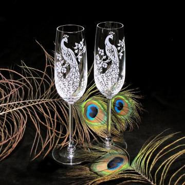 Peacock Champagne Glasses, Fine Crystal