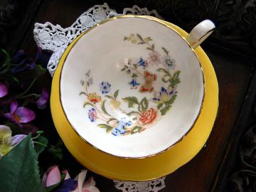 Aynsley Canary Yellow Teacup Tea Cup and Saucer 6107