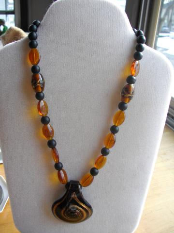Black and Burnt Orange Pendant Necklace