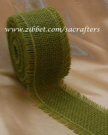 Burlap trims in Lame green color-2 yards