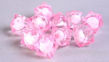 10pc pink miracle beads resin lucite acrylic faceted cube beads 12mm (449)