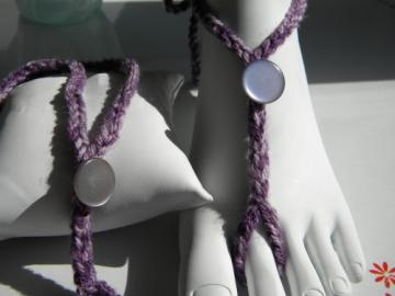 Pearly Purple Toekinis - vintage pearly button barefoot sandals