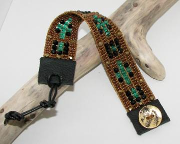 Bronze, Green, and Black Bead Loom Bracelet