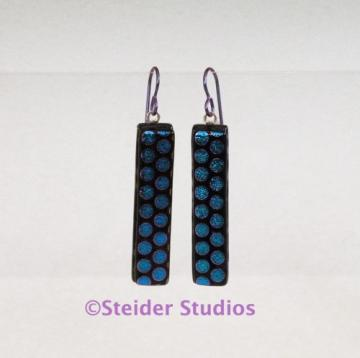 Blue and Purple Glittery Dots Art Glass Earrings Handmade