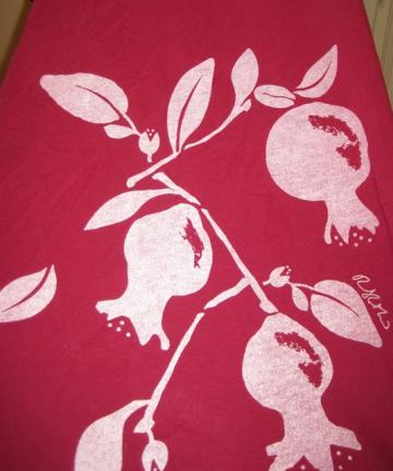 Long Ruby Red Scarf with Pomegranates