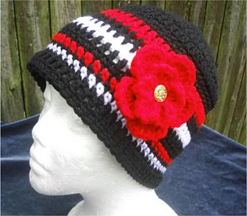 Cloche Hat in Black, Red, and White YBO/IDO