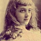 Digital Scan French postcard BLONDE ringlet beauty woman-child ATC image download