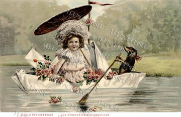 Dog Paddling DACHSHUND Doxie Antique French postcard DIGITAL Scan