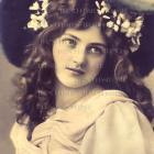 Digital Scan FRENCH postcard Edwardian Victorian Teen Huge Hat Green Eyes