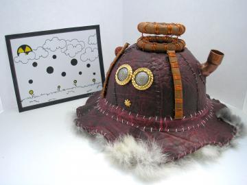 Handmade brown Steampunk Altered art pet sculpture Dark Slug