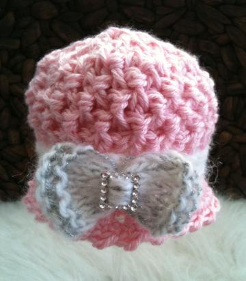 Newborn Wafflestitch Cloche - Chantilly Pink with Bow