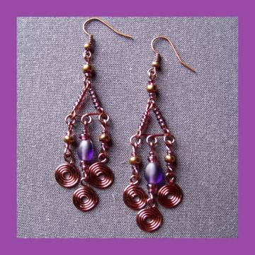 Purple Coppertone Triple Dangle Chandelier Earrings