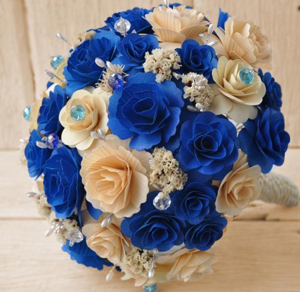 Royal Blue Bouquet Wooden Flowers Bridal Bouquet Or Occasion