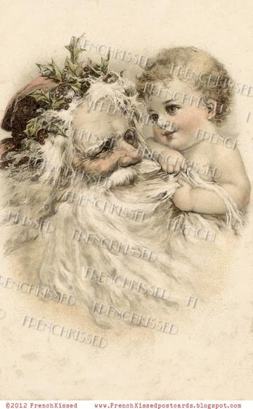 Vintage CHRISTMAS DIGITAL Scan Baby pulling SANTA Beard Antique French Postcard Download 5 choices
